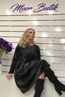 Siyah Kadife İtalyan Elbise