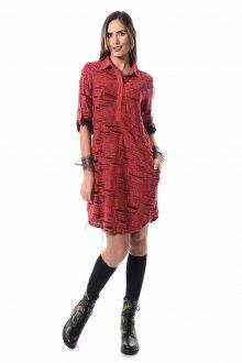 Etnik jakar nar rengi gömlek elbise