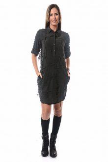 Etnik Jakar Siyah Gömlek Elbise