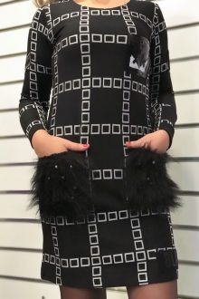 Cep Detaylı Siyah Beyaz Kareli Mini Elbise